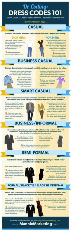 De-coding Dress Codes 101--good to have on hand!