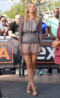 Maria Sharapova in a gypsy-style mini dress as she promotes Extra TV venture Maria Sharapova Hot, Maria Sarapova, Tennis Players Female, Great Legs, Tall Women, Gypsy Style, Sport Girl, Sports Women, Female Sports