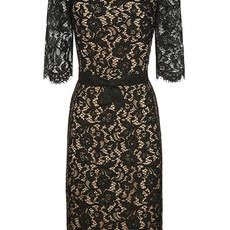 Noir Corded Lace Flounce Sleeve Fitted Dress
