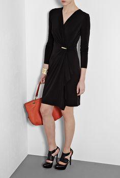 Black Long Sleeve Jersey Wrap Dress by MICHAEL Michael Kors