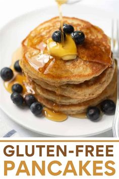 This BEST gluten-free pancake recipe makes wholesome, light and fluffy pancakes you'll want to make over and over!