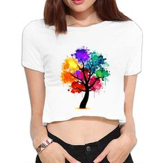 Crew Neck Short-sleeved Girls Sexy Trees Crop Tops T-shirts Doodle Hand Painted … Crew Neck Short-sleeved Girls Sexy Trees Crop Tops T-shirts Doodle Hand Painted 3511 Fabric Paint Shirt, Paint Shirts, T Shirt Painting, Fabric Painting, Tshirt Painting Ideas, Shirt Design For Girls, Fashion Design For Kids, Shirts For Girls, Kids Shirts