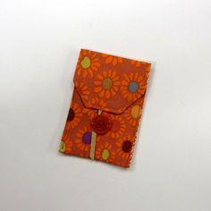 Business Card Case Orange Fabric Wallet by TwiggyandOpal on Etsy, $7.25 #hmcspooky #handmadebot #boebot