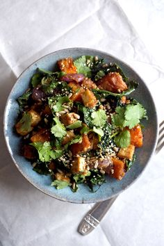 Satay Baked Tofu and Sweet Potato with Kale and Coriander | A comforting and easy baked dinner that's gluten free and vegan!