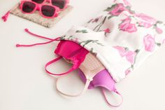 Sewing tutoral for travel drawstring bags (for bras, undies, etc)