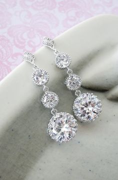 Sparkly Cubic Zirconia Crystal Earrings, Bridesmaid Earrings, Bridal Accessories, Wedding Jewelry, by GlitzAndLove, www.glitzandlove.com