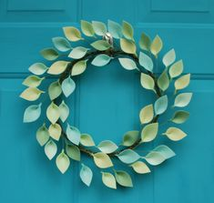 Green Felt Leaf Wreath - Modern Wreath for Spring and Summer - Mint Green Decor by CuriousBloom on Etsy https://www.etsy.com/listing/271038105/green-felt-leaf-wreath-modern-wreath-for