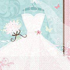 The Something Blue Luncheon Napkins feature a wedding gown, veil and bouquet with accents of pale pink and blue. Each of the Something Blue Dinner Napkins comes in a package of 8 and measures approximately 6 inches square. These elegant bridal themed napkins are perfect for both bridal showers and bachelorette parties.