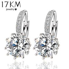 Fashion Alloy Silver Color 10 Color Geometry Crystal Earring Simple Jewelry  Design Round Zirconia Earrings Statement 35cf3f736c37