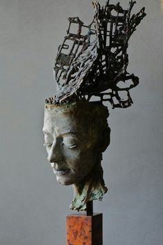 black - head - figurative sculpture - Philip Wakeham