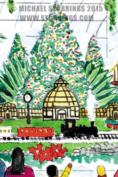 Art by Michael Storrings: The New York Botanical Gardens Holiday Train Show as seen in A Very New York Christmas New York Christmas, Christmas Cards, Christmas Ornaments, Animated Reindeer, Holiday Train Show, New York Winter, New Puzzle, Ornaments Design, Christmas Illustration