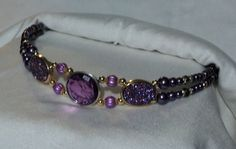 Purple Beaded Browband for Horse Bridle. by EquineInspirations, $45.00