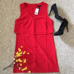 Red shift dress Shift dress with double layer draping over the top (second photo). Back hidden zipper. V neck. Thick tank top straps, great coverage for work or a formal event. Runs larger. Size small, seems like medium. Forever 21 hand was cold. New with tags. Forever 21 Dresses Mini