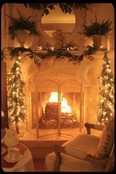 Beautiful fireplace for Christmas