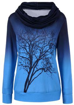 $18.89 Cowl Neck Ombre Tree Print Sweatshirt - Blue