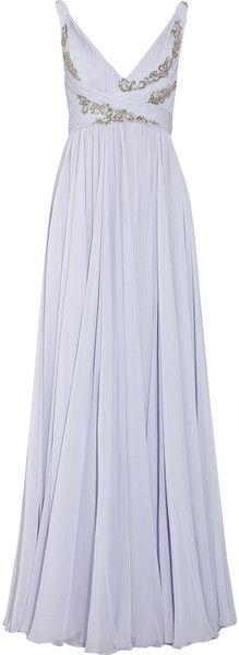 Marchesa Appliquéd Silk Chiffon Gown in Purple (lavender)