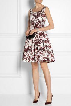 Oscar de la Renta|Printed cotton-blend dress|NET-A-PORTER.COM