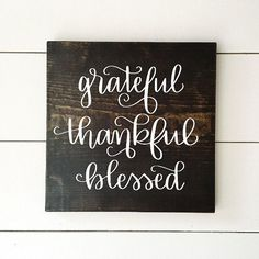 Grateful Thankful Blessed Wood Sign Fall by MillionAyres on Etsy Barn Wood Signs, Pallet Signs, Rustic Signs, Wooden Signs, Thankful And Blessed, Grateful, Wood Crafts, Diy And Crafts, Diy Holz