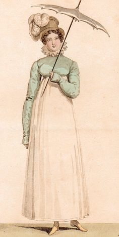 A  fashion plate of a Spencer, 1814.  Note the pattern of the spencer, notably different from the earliest models of the directoire period.