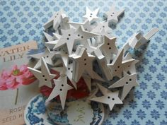 Wooden Buttons Stars 36 pcs by lallehandmade on Etsy