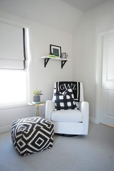 Modern Black and White Baby Boy Nursery - love the simple styling!