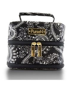 PurseN Small Tiara Jewelry Case in Black & White Paisley $39