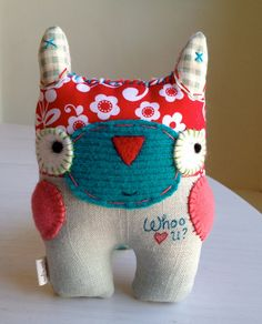 Eco Friendly Plush Owl- WHOO Loves You Needlefelted Patchwork Plushie