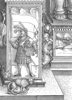 Duerer, Albrecht Triumphal Arch ('Ehrenpforte') for Emperor Maximilian I. Dated Detail of Woodcut. Pedestral of the right hand middle column. Maximilian I, Albrecht Dürer, High Renaissance, Landsknecht, Graf, Art Base, Italian Artist, Pencil Illustration, 16th Century