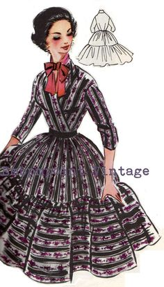 Vintage Sewing Pattern 1956 Swing Dress PDF by EmbonpointVintage