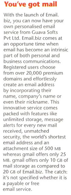 Email.biz Coverage in the Leading Magazine of India, Business India