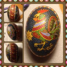 Rooster on a goose egg.  Goose egg pysanka   by Katrina Lazarev
