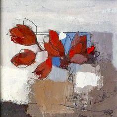 Sarah Picon. Feuilles cuivrées - Acrylique sur carton toile 20x20 sous cadre 30x30