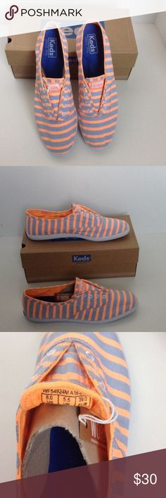 Keds Chillax Orange/Grey 8 (I have 3 size 8s) Timeless classic cast in canvas Canvas upper Round neckline Twill lining Rubber sole Lightly padded insole Imported Keds Shoes Sneakers