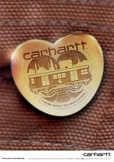 Carhartt buttons  Artwork and design© McFaul Studio  Product renders for limited edition Carhartt brass buttons. Illustration and logo design for buttons.