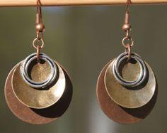 Pendientes cobre latón pendientes mezclado Metal por NtikArtJewelry