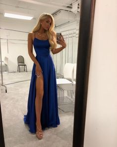 A Line High Slit Spaghetti straps Backless Royal Blue Long Prom Dresses Under 100 with Pockets, Simple Elegant Evening Dresses – Dress girl – Kleider Prom Dresses Under 100, Straps Prom Dresses, Long Wedding Dresses, Prom Dresses Blue, Pretty Dresses, Formal Dresses Long Elegant, Prom Dress Long, Sexy Long Dress, Blue Evening Dresses