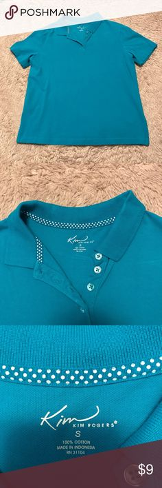Women's polo Women's Kim Rogers polo in good used condition. A few small spots shown in pictures where it looks like bleach has accidentally gotten on shirt. Hardly noticeable. Size small, 100% cotton Kim Rogers Tops