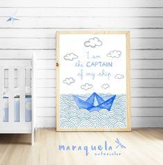 CUSTOM Paper Boat BLUE OCEAN baby illustration with personalized name and quote.Customized Newborns.I am the captain of my ship.Bedroom kids.Laminas para bebe,niños,tonos azules,ilustracion,acuarela,decoracion.by MARAQUELA