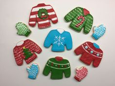 Ugly Christmas sweater sugar cookies with royal icing