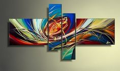 Colorful Lines, Canvas Art, Large Wall Art, Abstract Art, Abstract Painting, Wall Art, Acrylic Art, 4 Piece Wall Art, Canvas Painting, Hand Painted Art, Group Painting