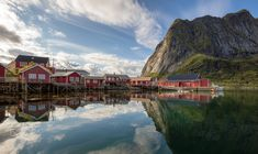 Morning in Reine - The red cabins and mountain reflecting in the dead calm waters around Reine in Lofoten, Norway. Dead Calm, Calm Waters, Lofoten, Beautiful Images, Cabins, Norway, Activities, Mountains, Nature