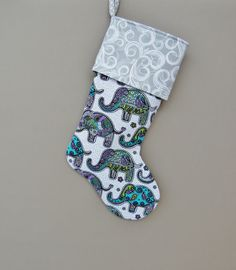 Elephant Christmas Stocking, Elephant Teal and Grey Modern Stocking, Elephant, Christmas Stocking, Stockin Elephant Love, Elephant Art, Elephant Stuff, Elephant Jewelry, Elephant Gifts, All About Elephants, Elephants Never Forget, Elephant Home Decor, Teal And Grey