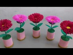 Muttertagsbevorzugungen - Projects to try , Kids Crafts, Diy Crafts For Gifts, Diy Arts And Crafts, Flowers In Jars, Felt Flowers, Diy Flowers, Paper Flowers Craft, Flower Crafts, Paper Crafts