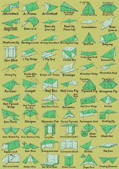 60 ways to turn a tarp into shelter.  From: Alles over de tarp - Tarp Shop.nl
