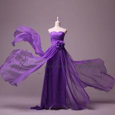 Attractive strapless floor-length chiffon prom dresses / evening dress