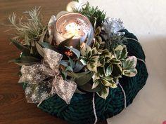 Gebreide kerstkrans van Textielgaren