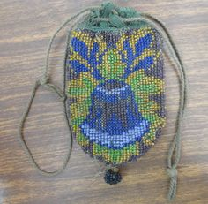 Victorian Antique Micro Glass Bead Coin Purse Drawstring Bag with Bell Design