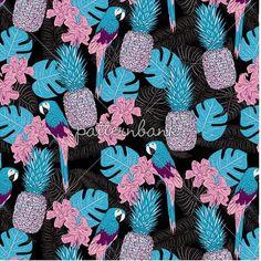 New to @patternbank today 'Chloe Tropical Parrot and Pineapple Print' → patternbank.com/gaynorcarradice #newonpatternbank…