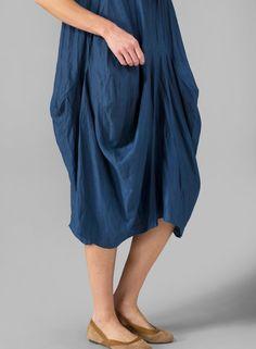 Prussian Blue Linen Sleeveless Draped Dress Set