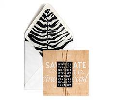 Prana Collection / Wood Save-the-Date / Tiger Print Envelope Liner / Maple Wood Veneer / Hand-Stitched / Burlap String / Foil Stamp Website Card / Rustic, Elegant, Modern